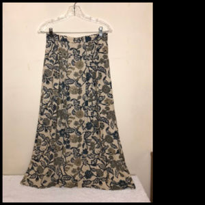 Beige Floral Soft Flowing Maxi Skirt Sz 6